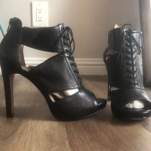 BCBGeneration Black Boot Strap Heels